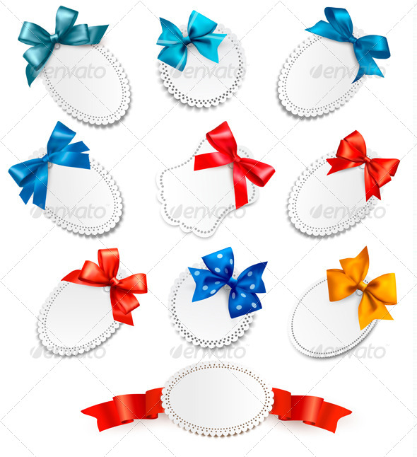 Set of Cards with Red Gift Bows with Ribbon