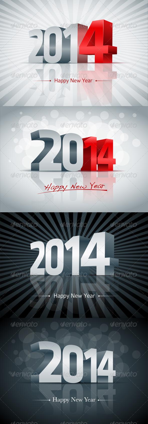 Year 2014 Greeting Card Set