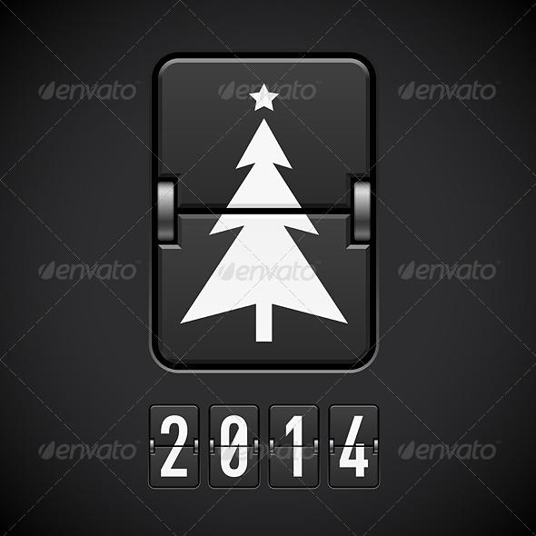 New Year Symbols on Scoreboard.