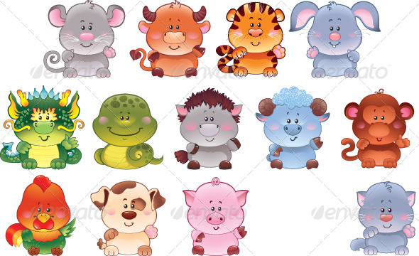 Set of Chinese Horoscope Symbols.