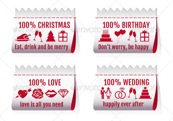 Fabric Tags Textile Labels For Cards, Vector Set
