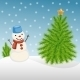 Snowman and Christmas Tree in Winter - GraphicRiver Item for Sale
