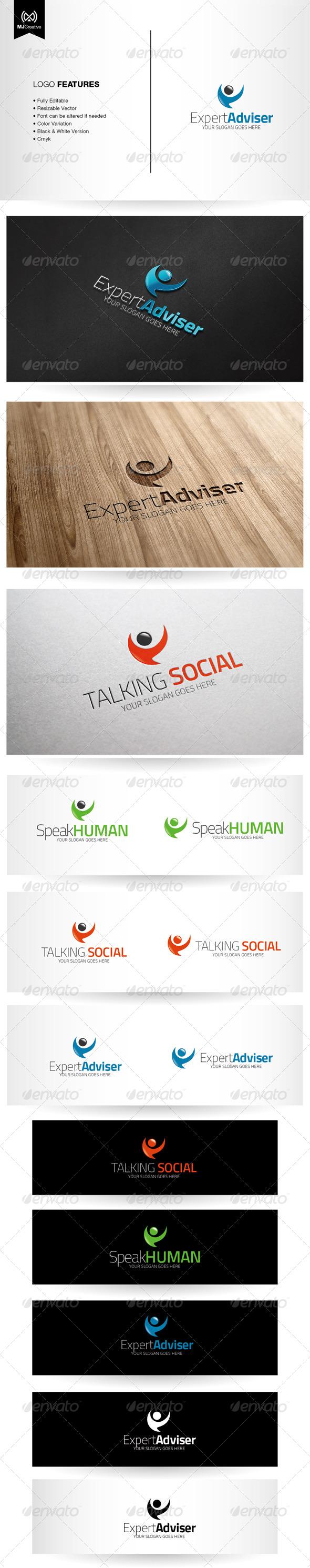 Abstract Human Speech Bubble Logo