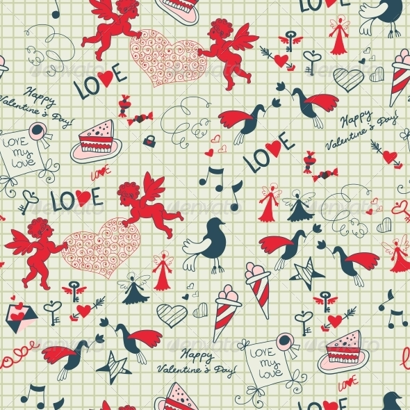 Valentine Romantic Seamless Sketch