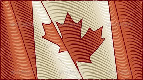 Vintage Canadian Flag Background