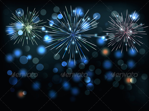 Holiday Background with Colorful Fireworks