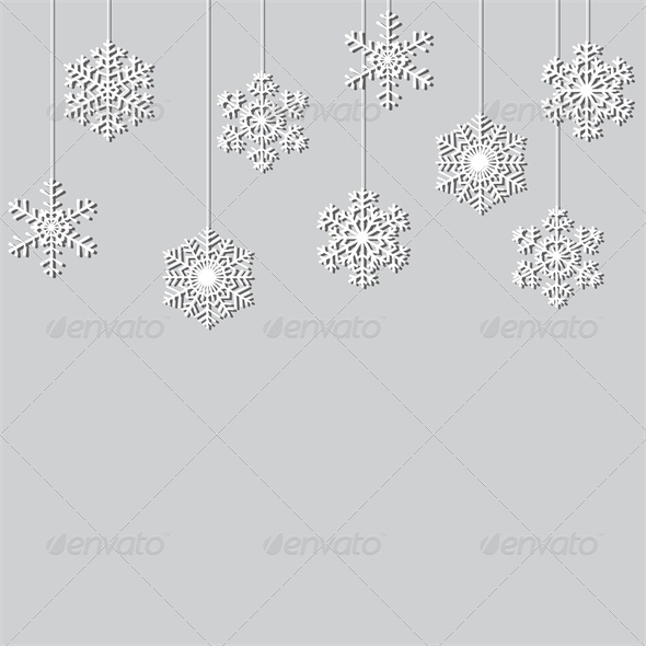 Hanging Paper Snowflake Christmas Background