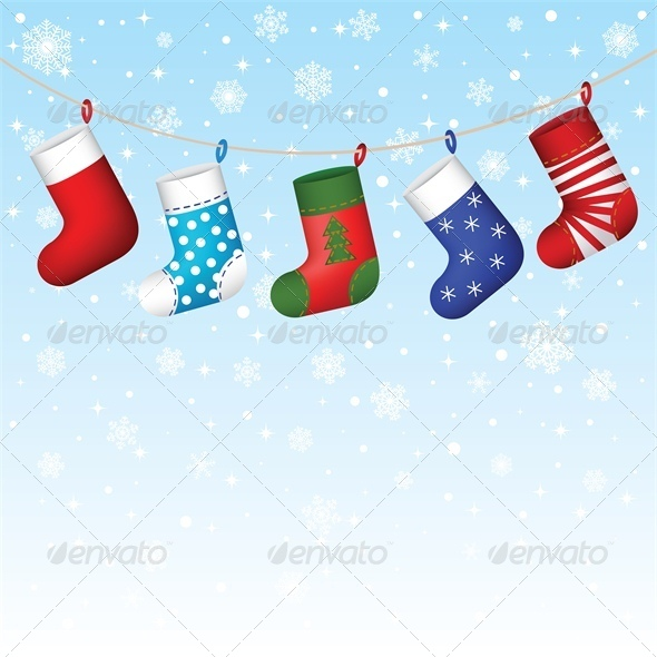 Christmas Stocking Hanging with Snowflakes