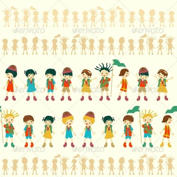 Illustration of Seamless Children Pattern