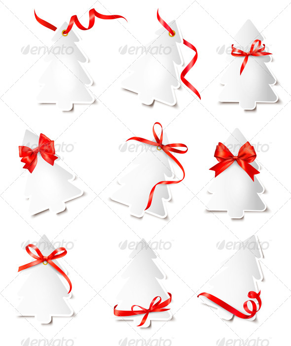 Set of Gift Cards with Red Gift Bows Wit