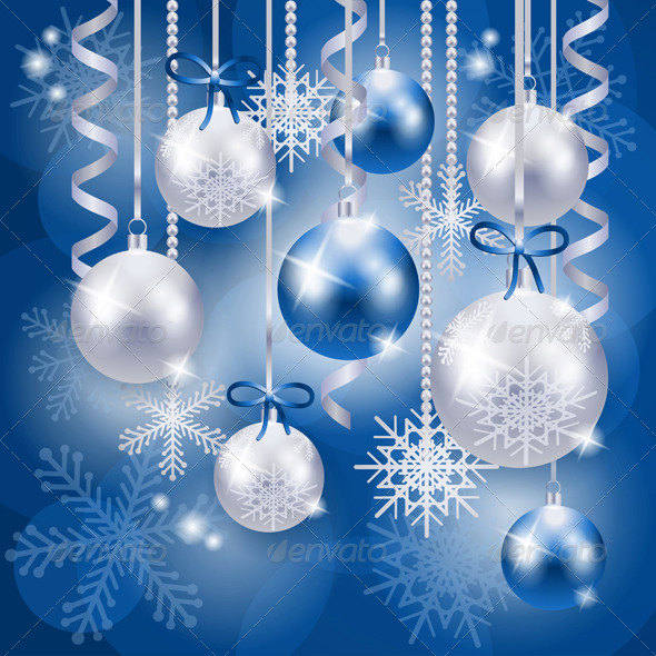 Christmas Background with Baubles in Blue