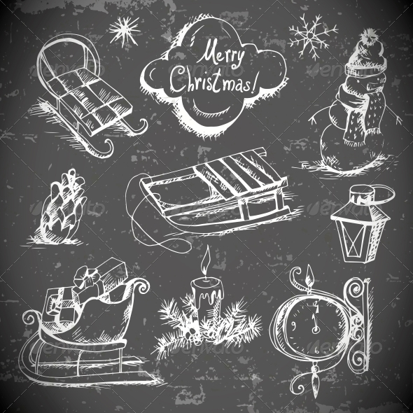 Hand-Drawn New Year and Christmas Set