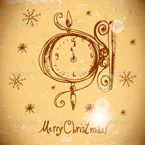 Hand-Drawn Vintage Greeting Card with Clock