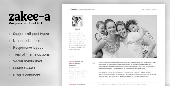 Zakeea-A | Clean and Simple Tumblr Blog Theme
