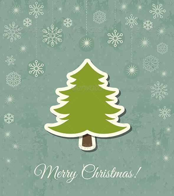 Christmas Tree Vector Card