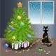 Naughty Cat and Christmas Tree - GraphicRiver Item for Sale