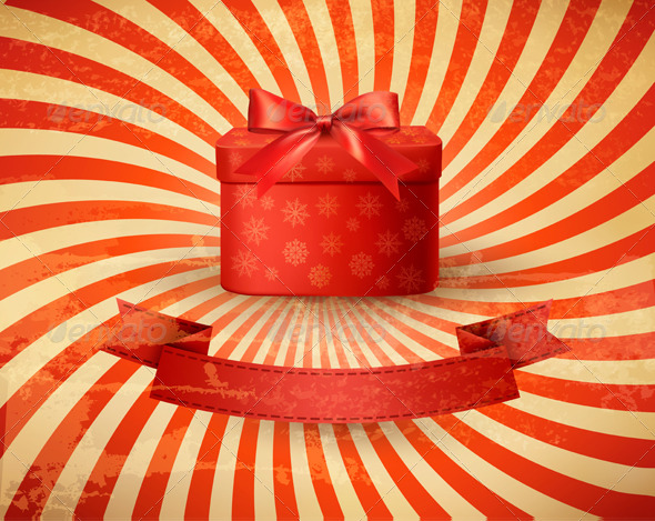 Vintage Holiday Background with Red Gift Box