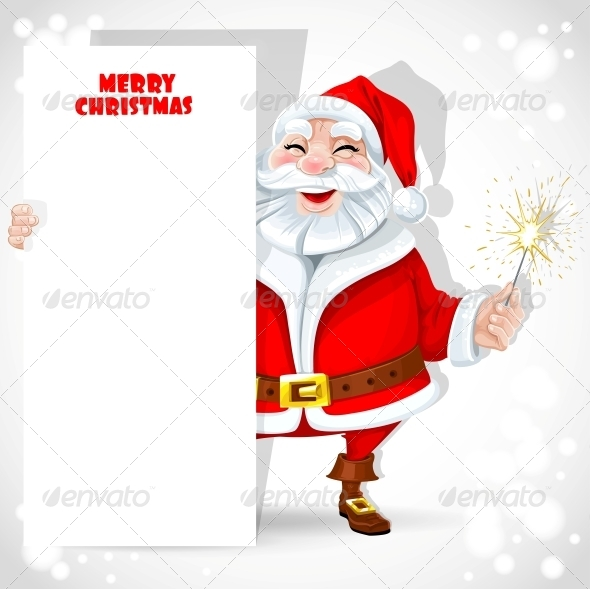 Santa Claus holding Banner and Sparkler