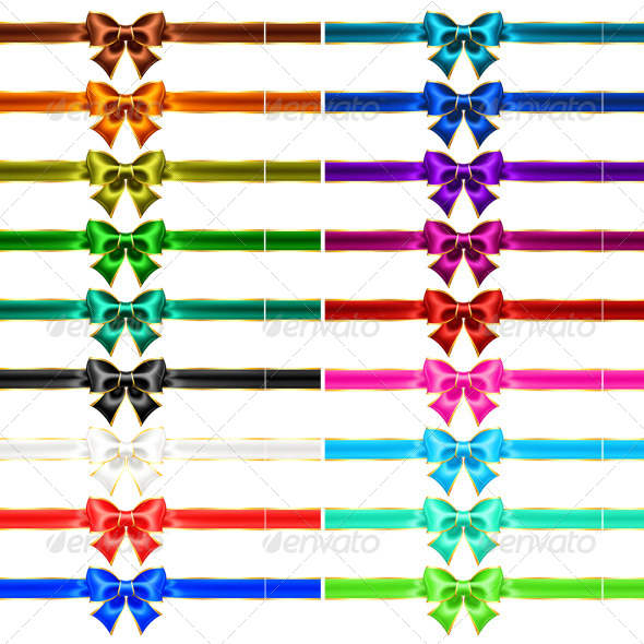 Set of Eighteen Holiday Bows with Gold Edging