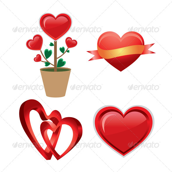 Set of a Red Valentine Heart
