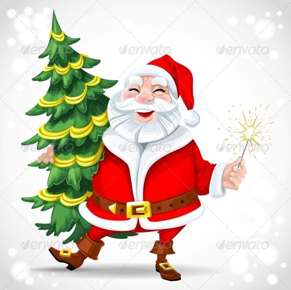Santa Claus holding Christmas Tree