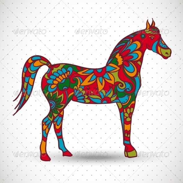 Horse with Flowers and Ornaments