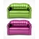 Green and Pink Vector Sofas - GraphicRiver Item for Sale