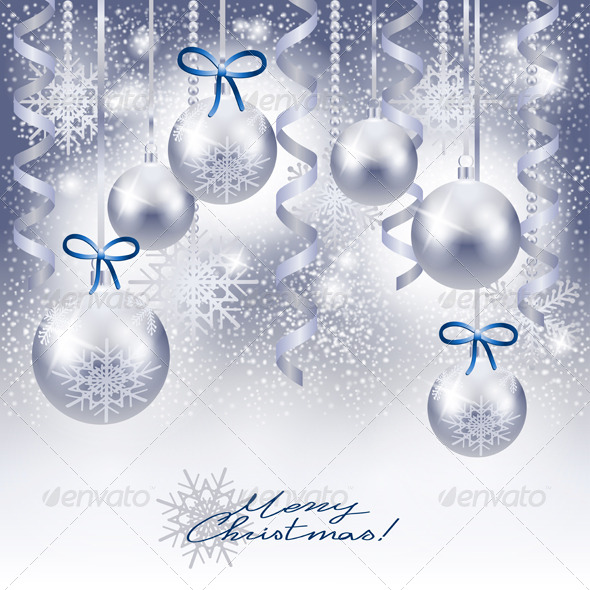 Christmas Background with Baubles in Silver
