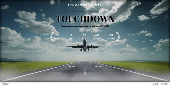 Touchdown || Responsive Coming Soon Page