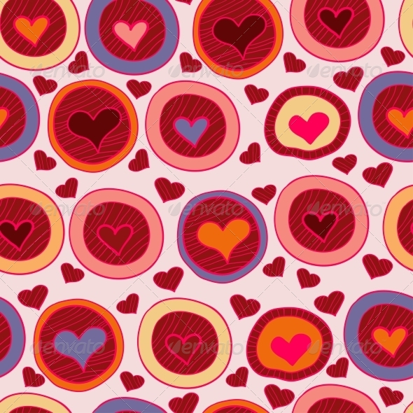 Bright  Valentine Seamless Pattern with Hearts
