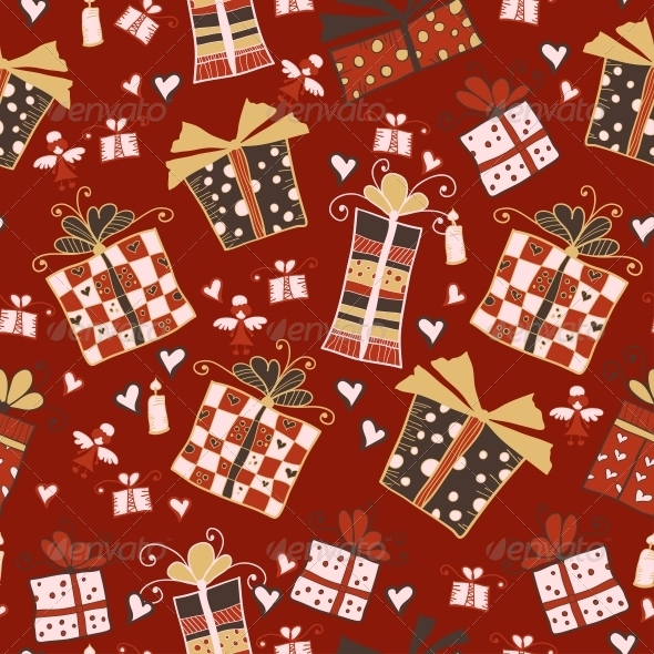 Red Seamless Pattern with Gifts