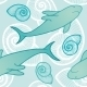 Seamless Background with Sharks - GraphicRiver Item for Sale