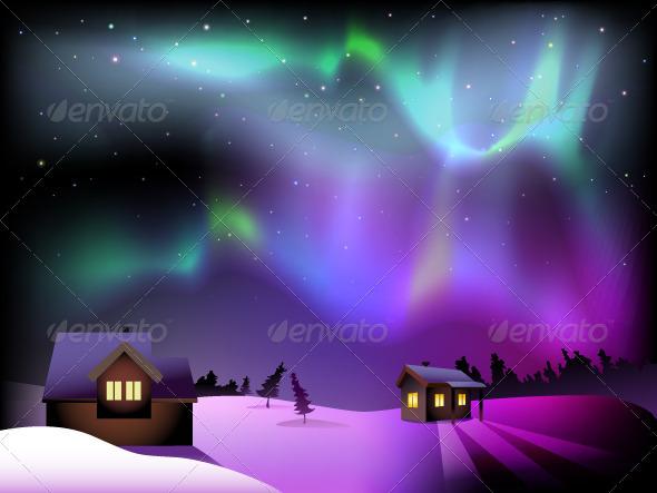 Aurora Borealis and Houses on Christmas Eve