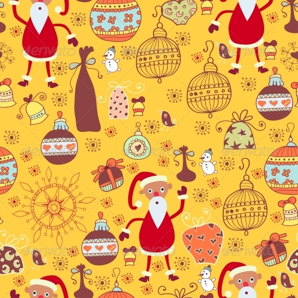 Christmas Texture with Santa, Toys