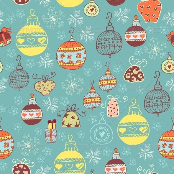 Christmas Seamless Pattern with Xmas Toys