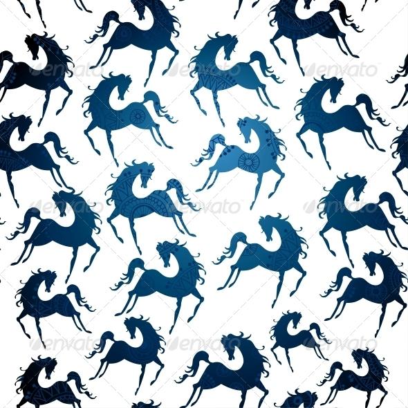 Symbol of 2014 Horse Pattern