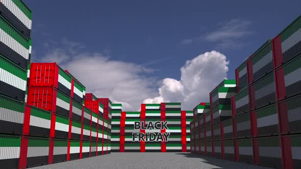 Containers with BLACK FRIDAY Text and National Flags of the UAE