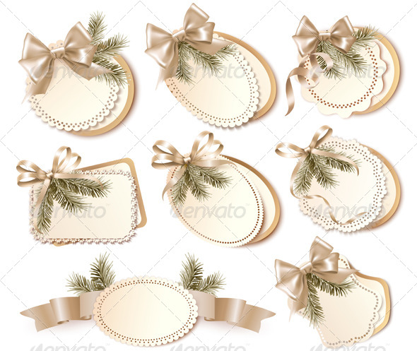 Set of Christmas Gift Cards with Gift Bows