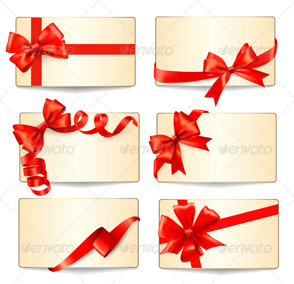 Set of Cards with Red Gift Bows