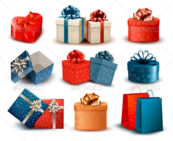 Set of Colorful Retro Gift Boxes with Bows