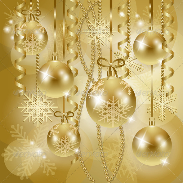 Christmas Background with Baubles in Gold