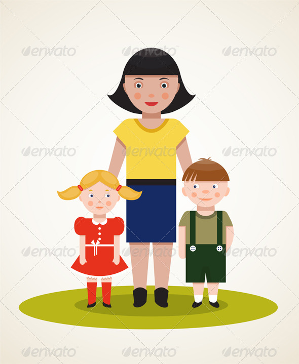 Happy Mother with Two Children