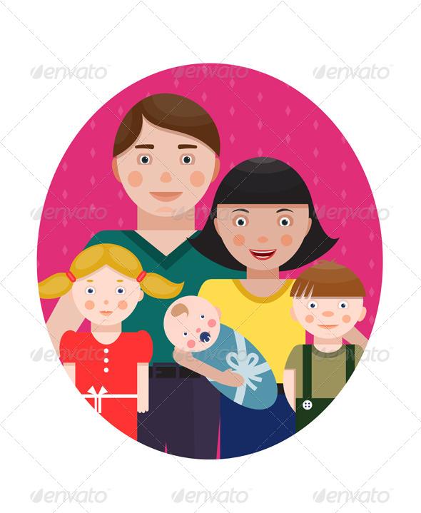 Happy Family Parents with Three Children Portrait