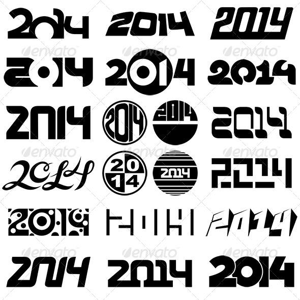 New Year 2014 Number Design Set
