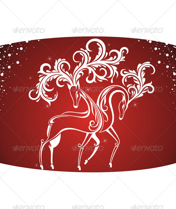 Christmas Card with Decorative Deers