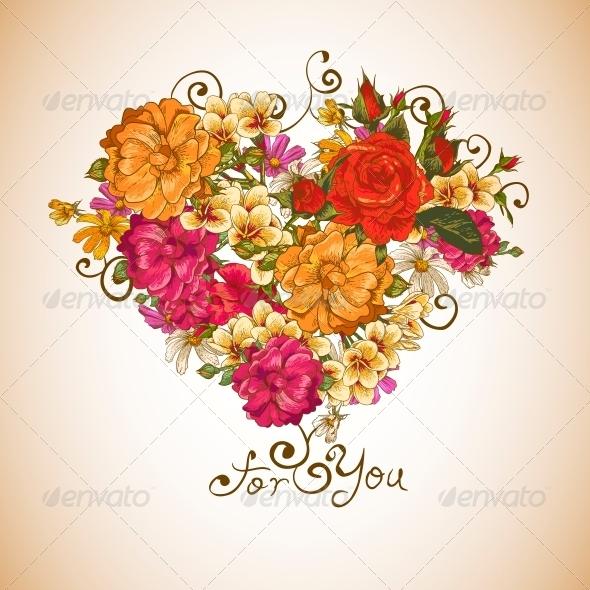 Valentine Floral Heart