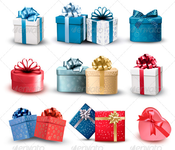 Set of Colorful Gift Boxes with Bows and Ribbons
