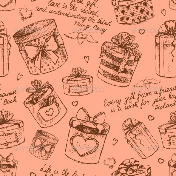 Seamless Gift Present Boxes Pattern