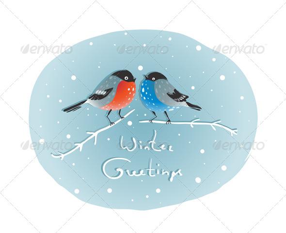 Christmas Bullfinch Birds in Love Sitting on Twig