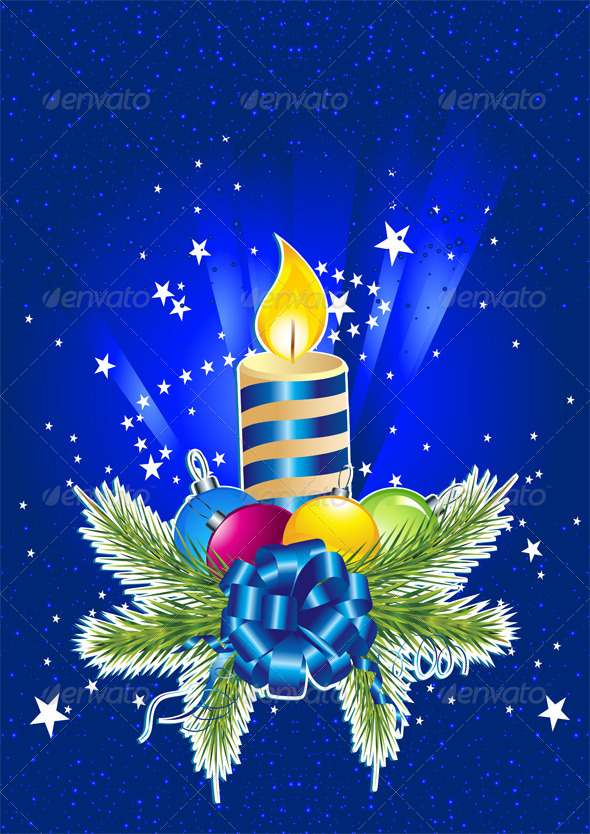 Happy New Year Card with Candle,  Pine and Ball
